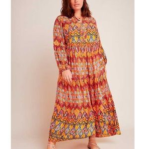 Maeve by Anthropologie Tamarind Tiered Bohemian Long Sleeve Maxi Dress 2X